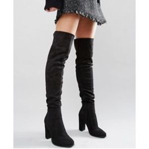 Shoes - Daisy Street Black Heeled Over the Knee Boots
